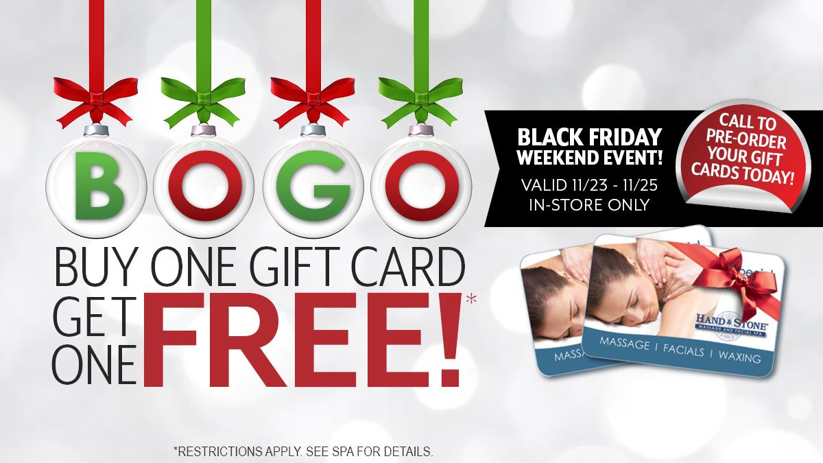 Black Friday BOGO GIFT CARD SALE - 2018