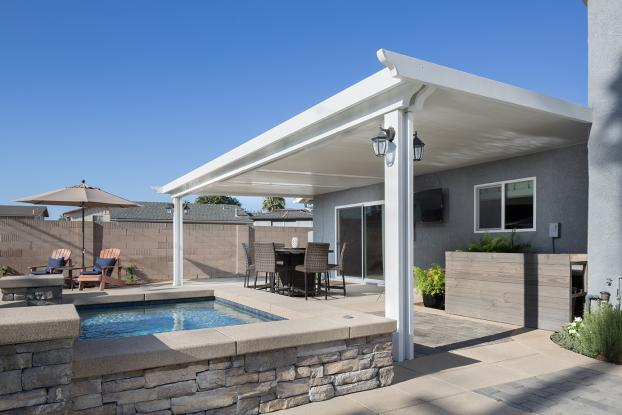 Fortner Elitewood Solid Insulated Aluminum Patio Cover with Alumaview Skylights