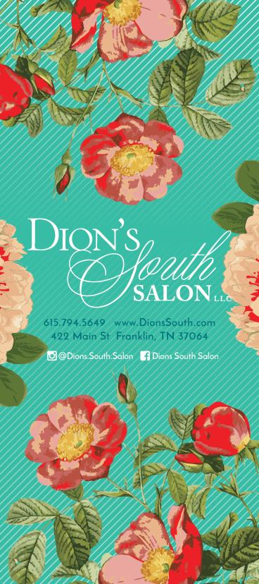 Rack card (front) for Dion's South Salon - Franklin, TN