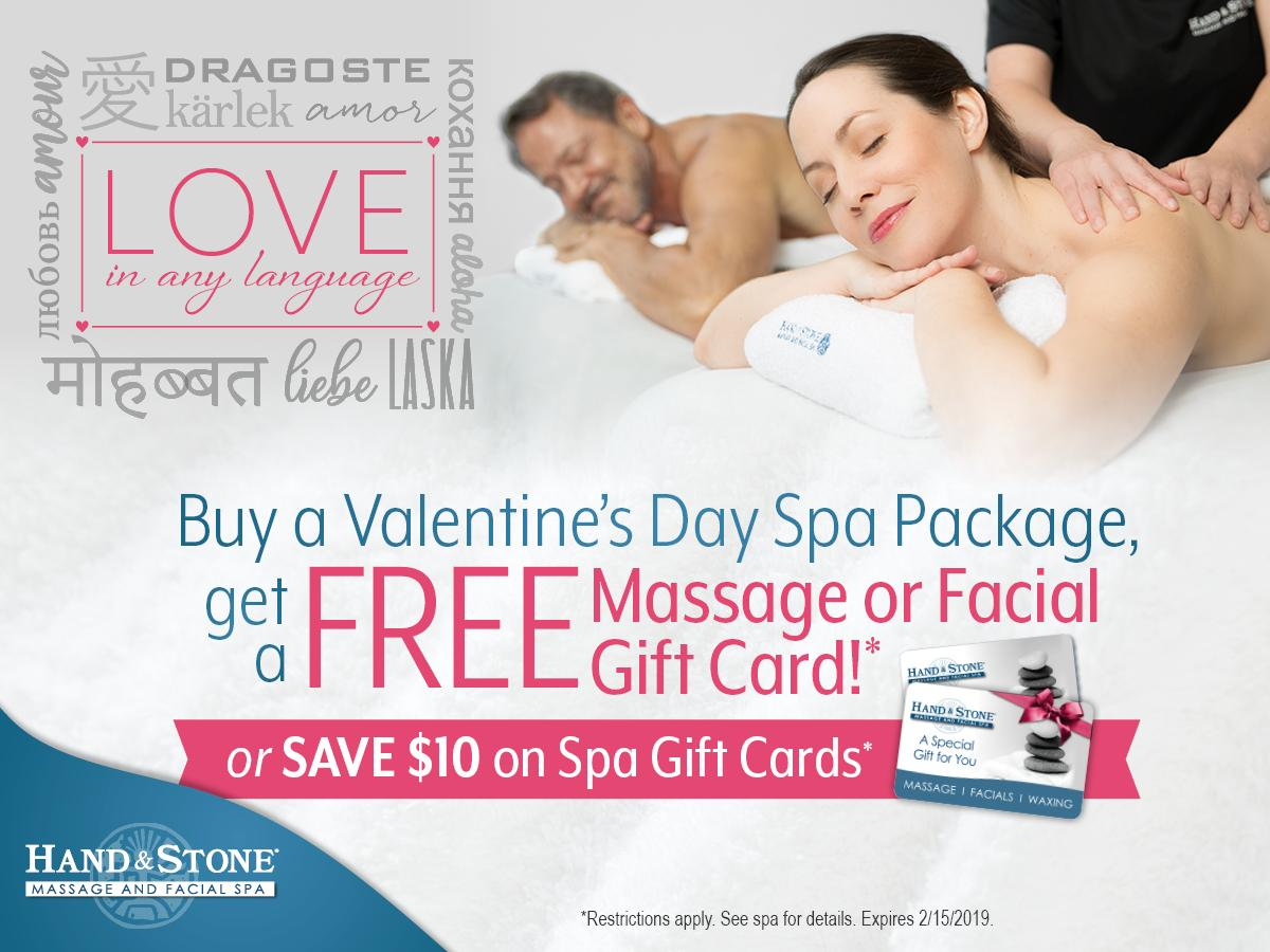 Valentines Special - $10 Off Gift Cards and Free Massage or Facial with Spa Package Purchase