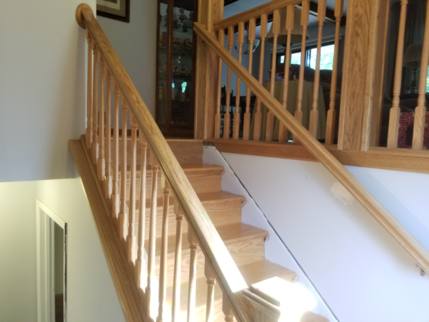 Eden Prairie townhome - new oak stair treads. risers and railings