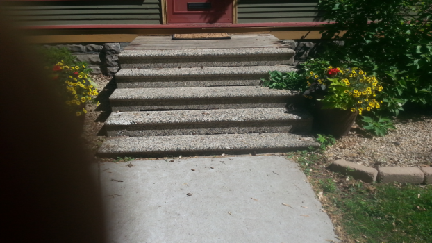St. Paul Highland Park - original cement stoop and steps - railings had been removed years ago