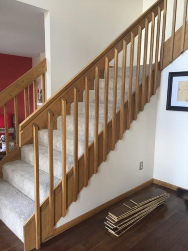 Minnetonka - golden oak railings and balusters, carpeted treads and risers