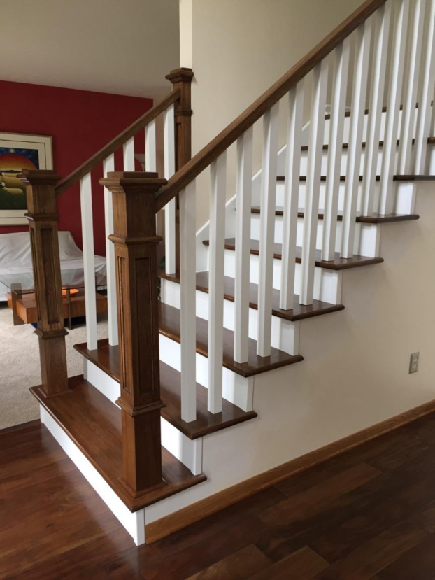 Minnetonka - new hickory handrails, newel posts and treads with painted balusters and risers
