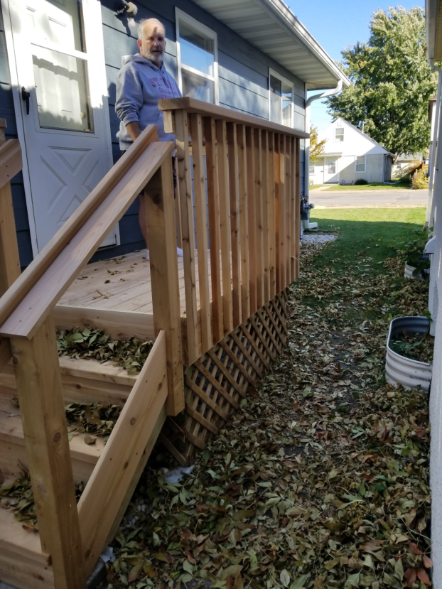 North Minneapolis - cedar porch, railings and handrail