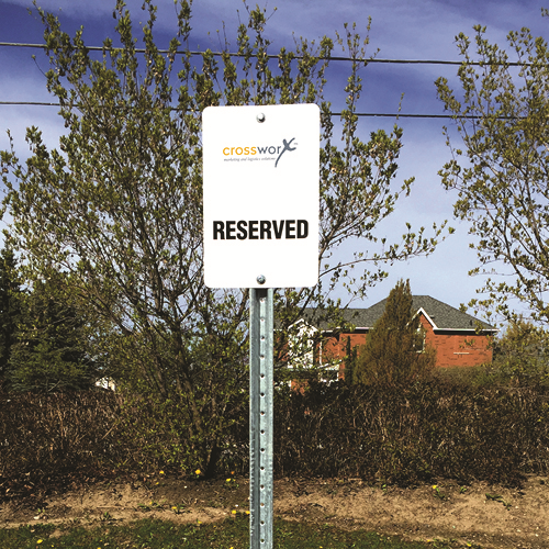 Crossworx Reserved parking signs