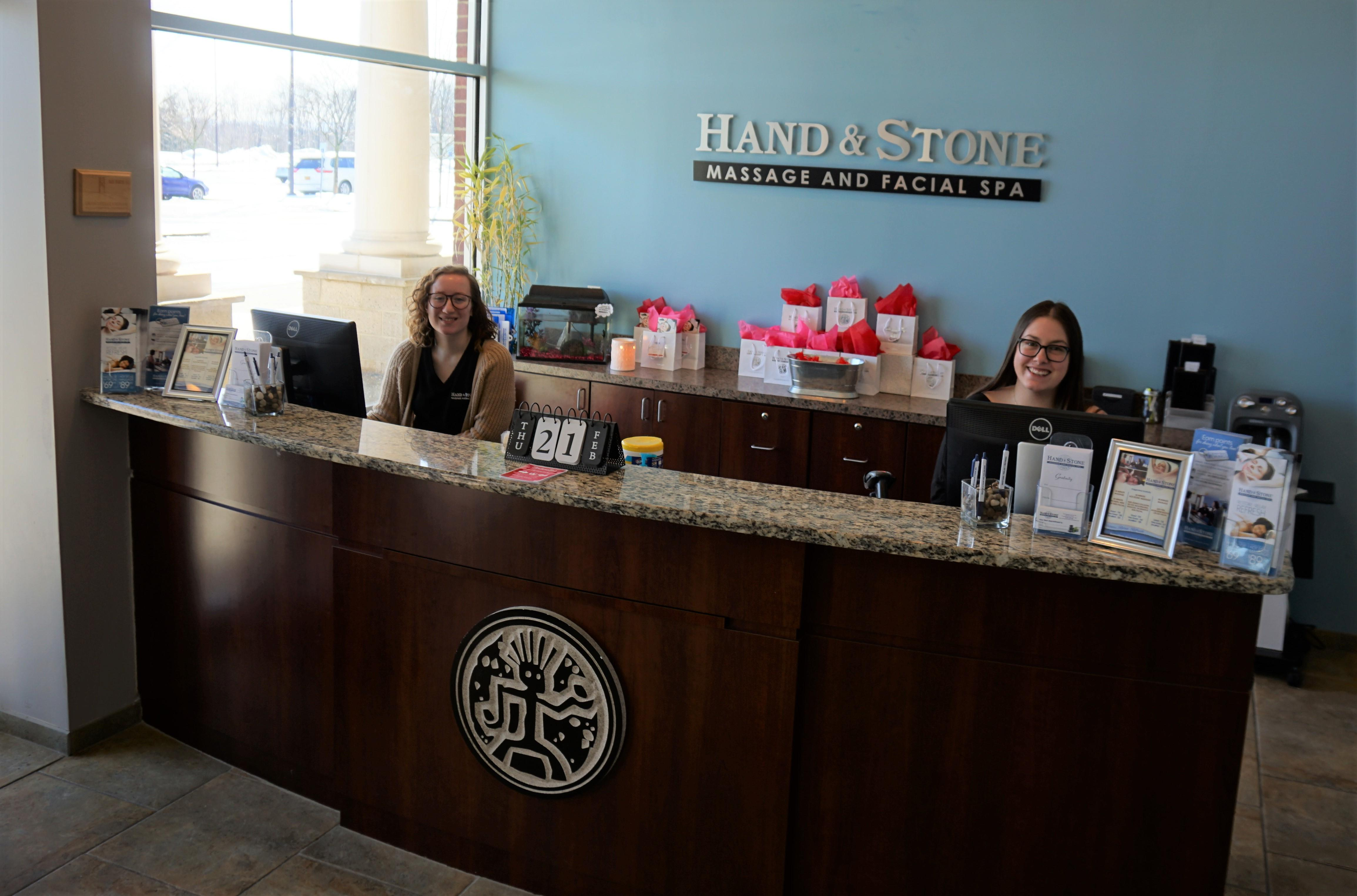 Hand & Stone's front desk!