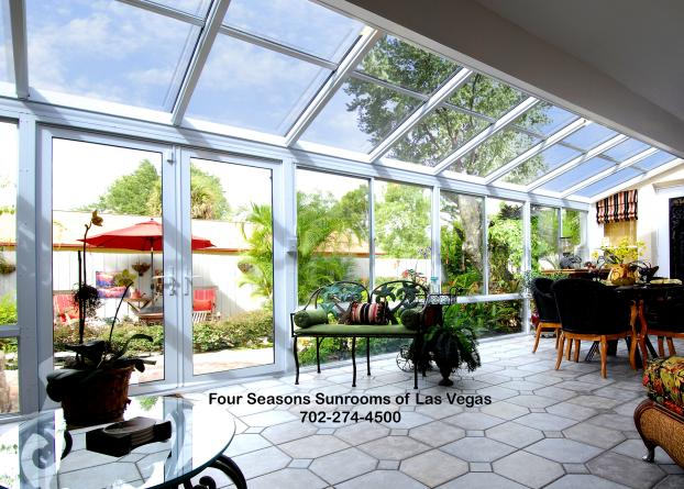 Straight Glass Low Roof Design with French style Doors
