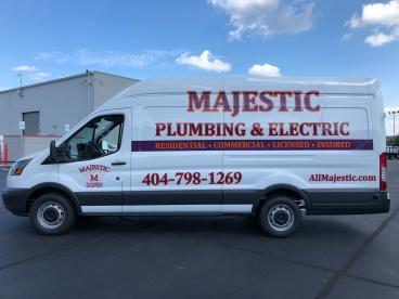 Majestic Plumbing & Electric Van lettering