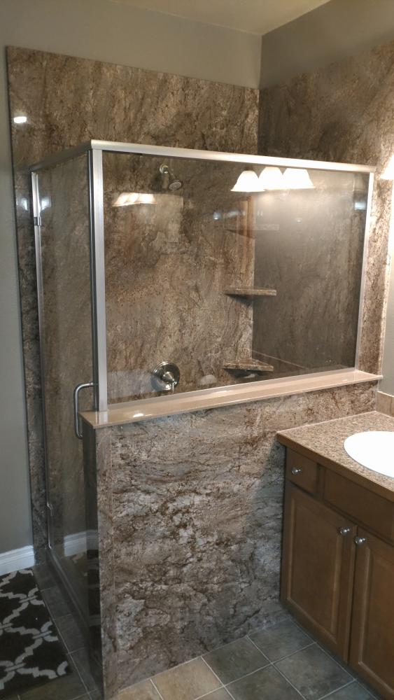 DuraBath Shower in Tahoe Granite with Semi-Frameless Shower Door.