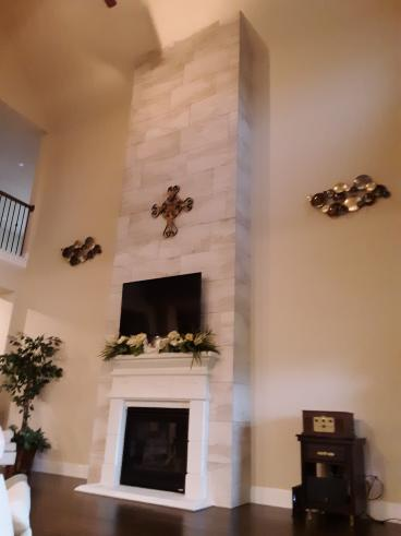 Finished Fire Place Tileing Job in Katy, Tx