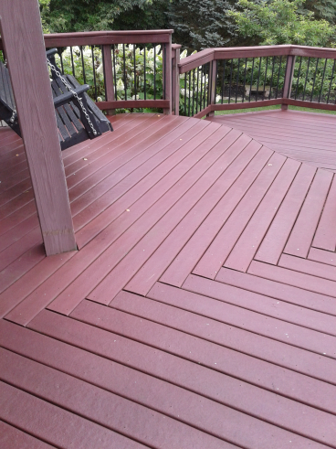 After power washing and cleaning multi-level deck in Reynoldsburg