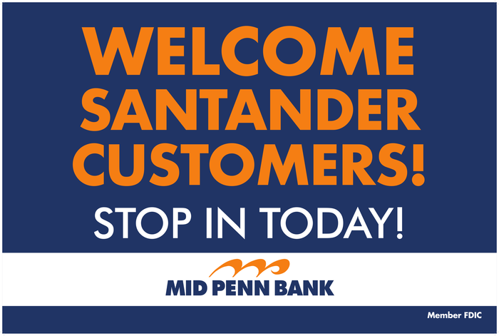 Mid Penn Bank Welcome Sign