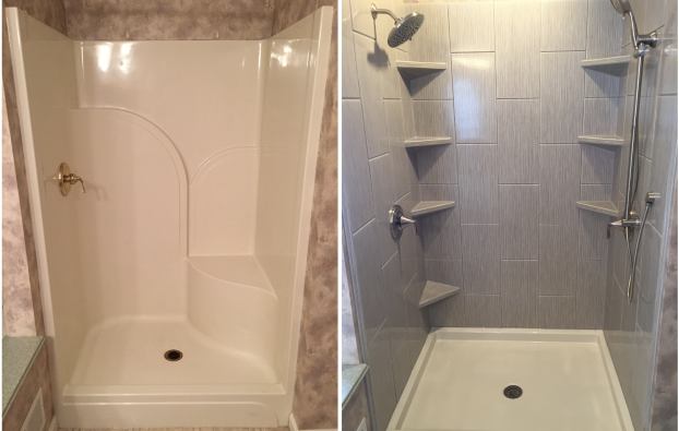 Before/After - 15 Year Old Fiberglass Shower  to Custom ReBath Shower