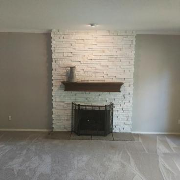 A  Stacked Stone Fireplace-After