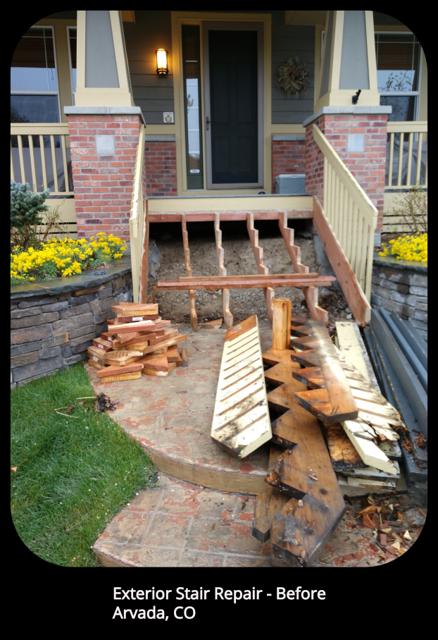 Exterior Stair Repair - Arvada, CO - Before