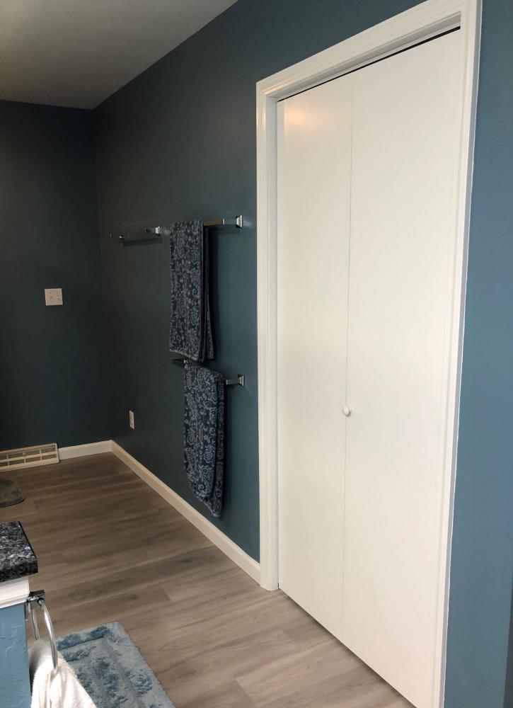 Luxary Vinyl plank ,Clic / trinity/ Canadian walnut floor. Bifold white closet doors.
