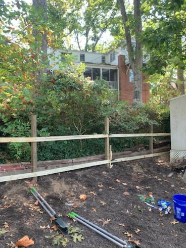 Decorative ranch-style fence install during