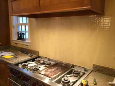 Kitchen back splash install before