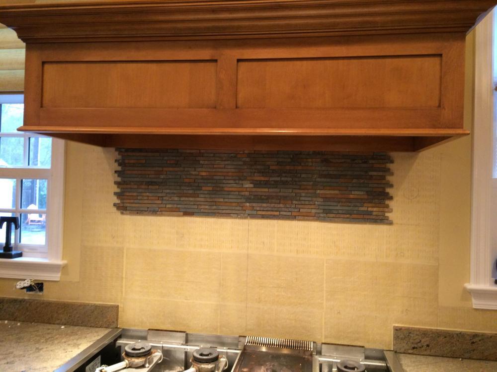 Kitchen back splash install during