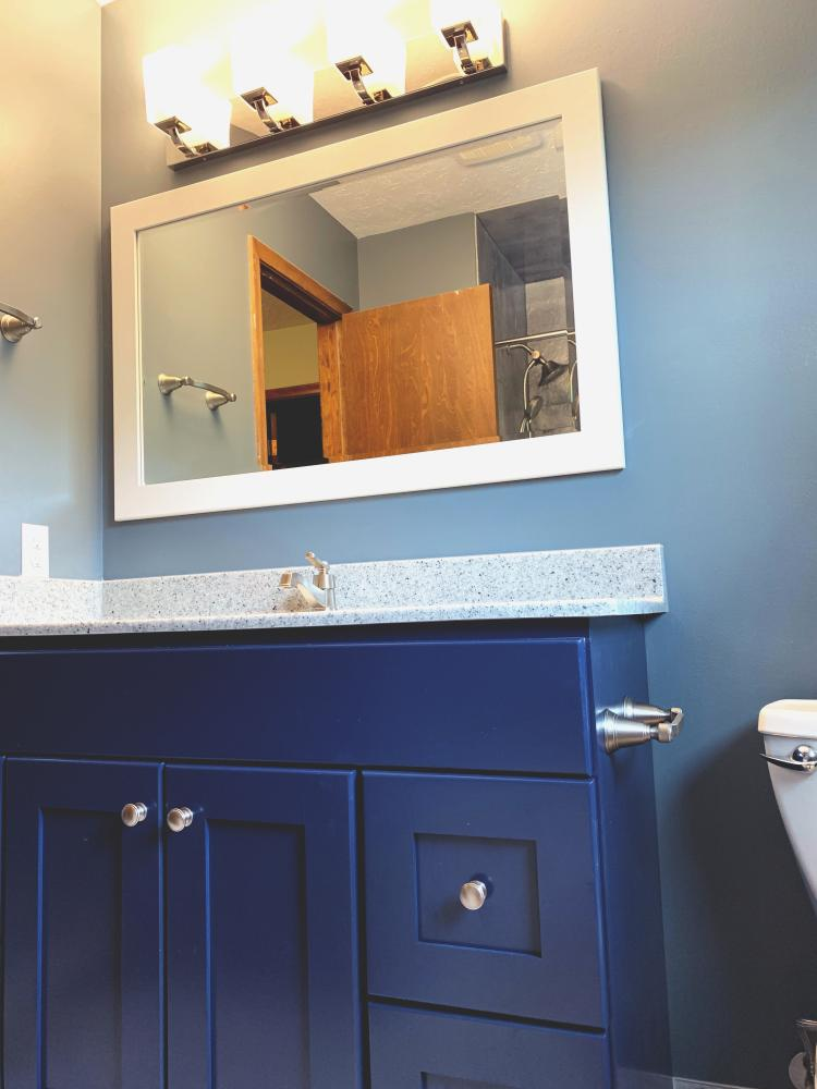 Our custom bathroom vanity options at ReBath Omaha allows for us to do a multitude of shapes, sizes, wood species and finishes. Painted cabinets are timeless and sometimes it's best to be bold in your color choices to get that bathroom makeover that has a real wow factor.