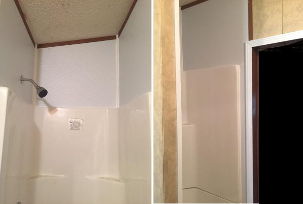 Shower Liner with FRP and trim repair after in Mooresville home