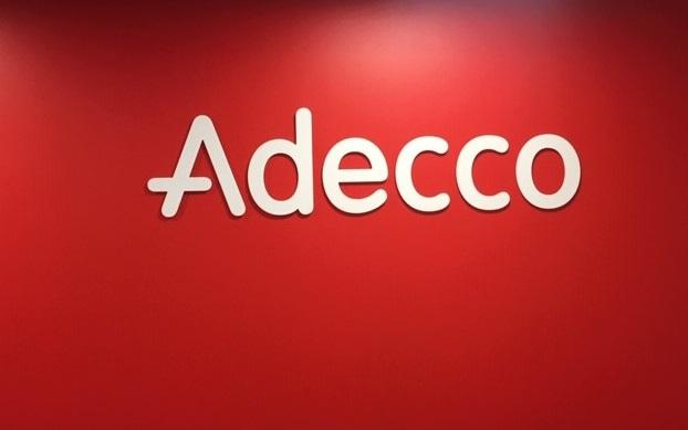 Acrylic lobby sign for Adecco