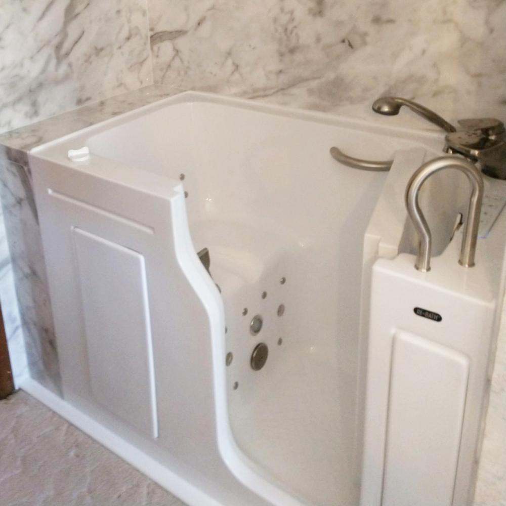 Because ReBath Omaha is one of few NAHB Certified Aging in Place contractors in town, we do a lot of accessibility and ADA tubs and showers. This jetted walk-in tub with in-swing door (out-swing door models available) also includes a heated seat and chromatherapy.