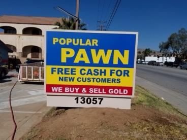 Popular Pawn Monument Sign