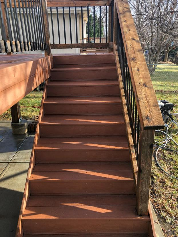 Deck Stairs After Power Washing