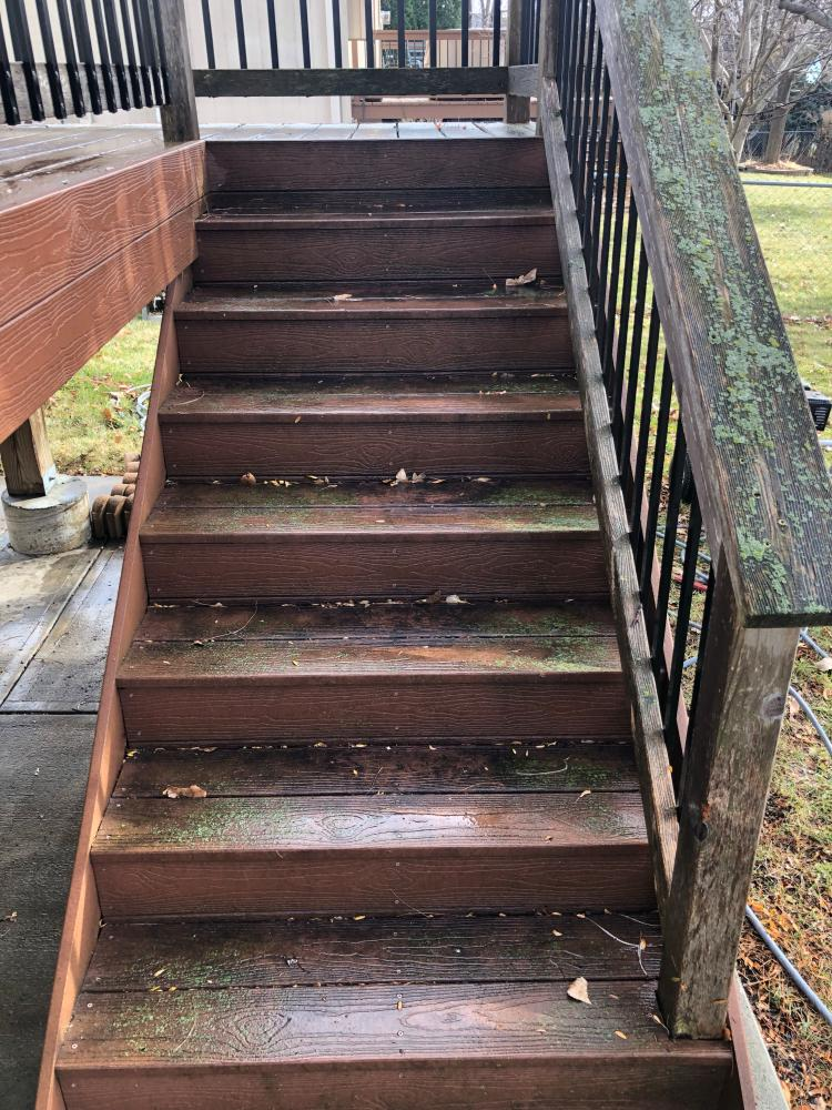 Deck Stairs Before Power Washing