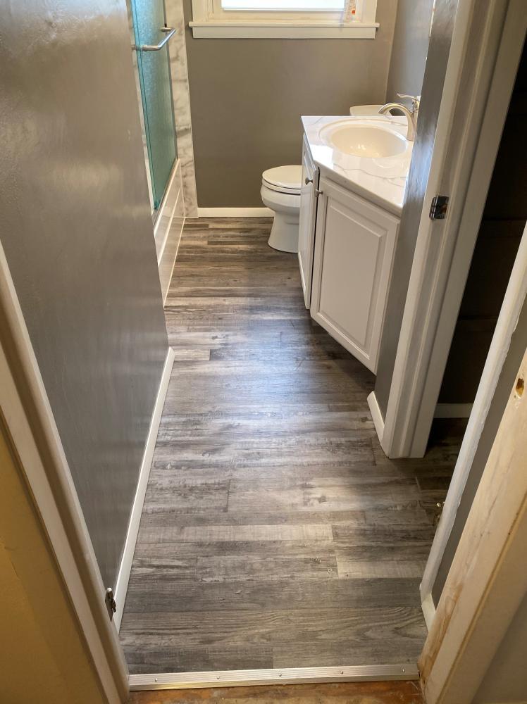 MSI Everlife luxury vinyl plank flooring, cultured marble vanity top