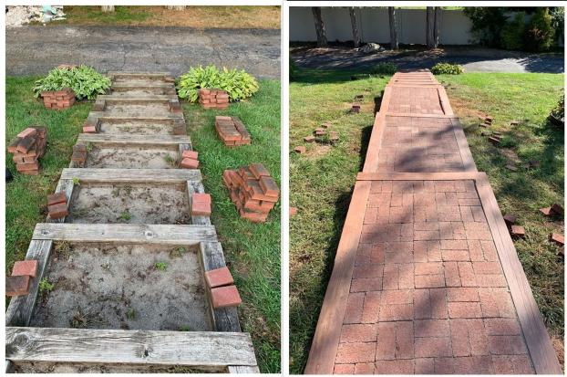 Orange CT Brick Entry Walkway Before and After