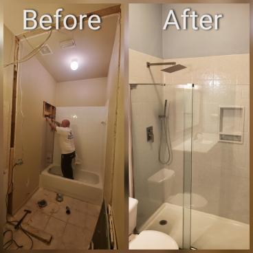 Bathroom Remodel, Onyx Shower, Tile Floor, Mansfield, TX