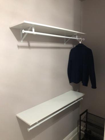 Closet shelving hung