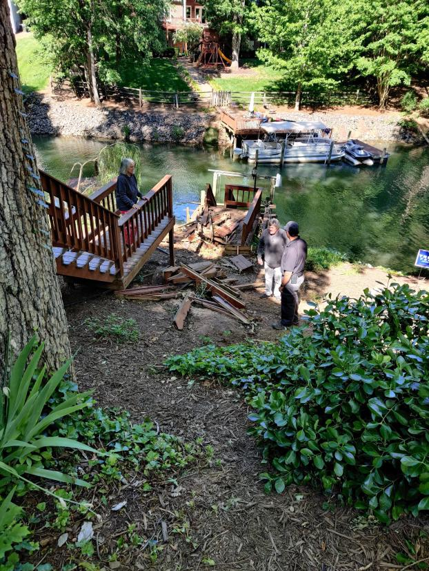 Huge tree takes out stairway and deck to dock- Lake Norman