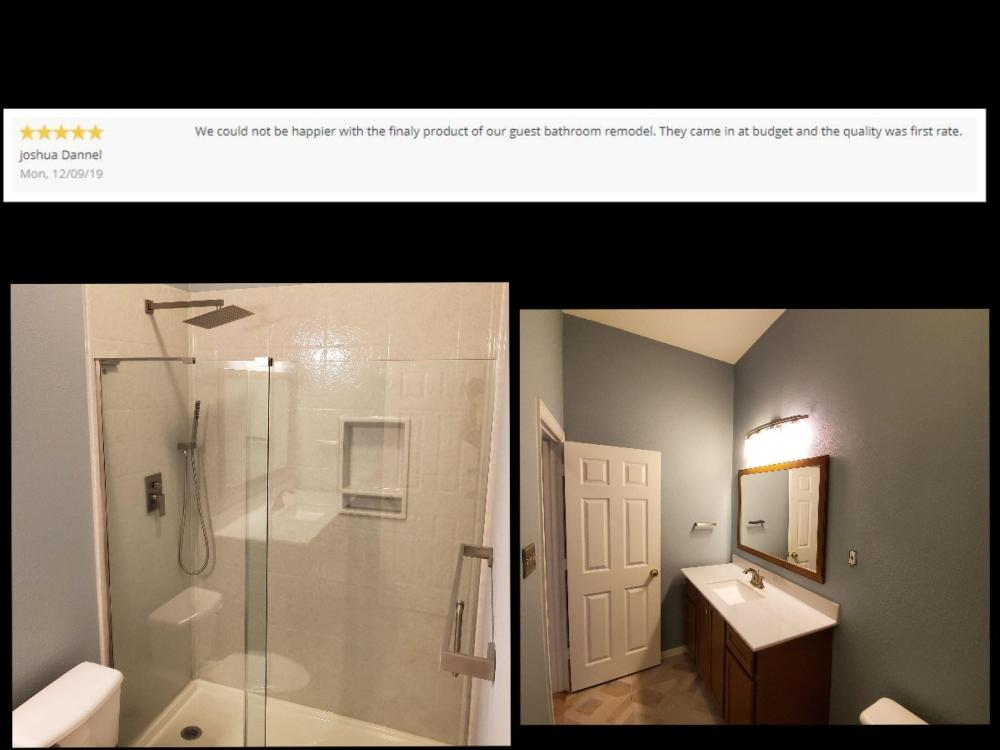 Bathroom Remodel, Onyx Shower, Tile Floor, Blues and Tans, Mansfield, TX