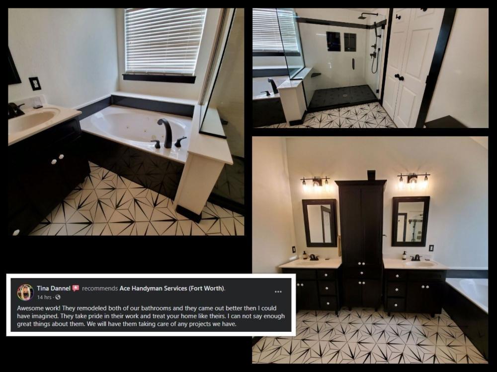 Bathroom Remodel, Onyx Shower, Tile Floor, Black and White, Mansfield, TX