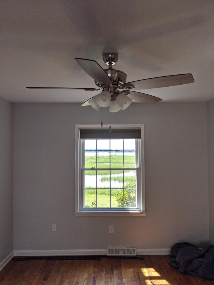 Downtown Charleston ceiling fan install