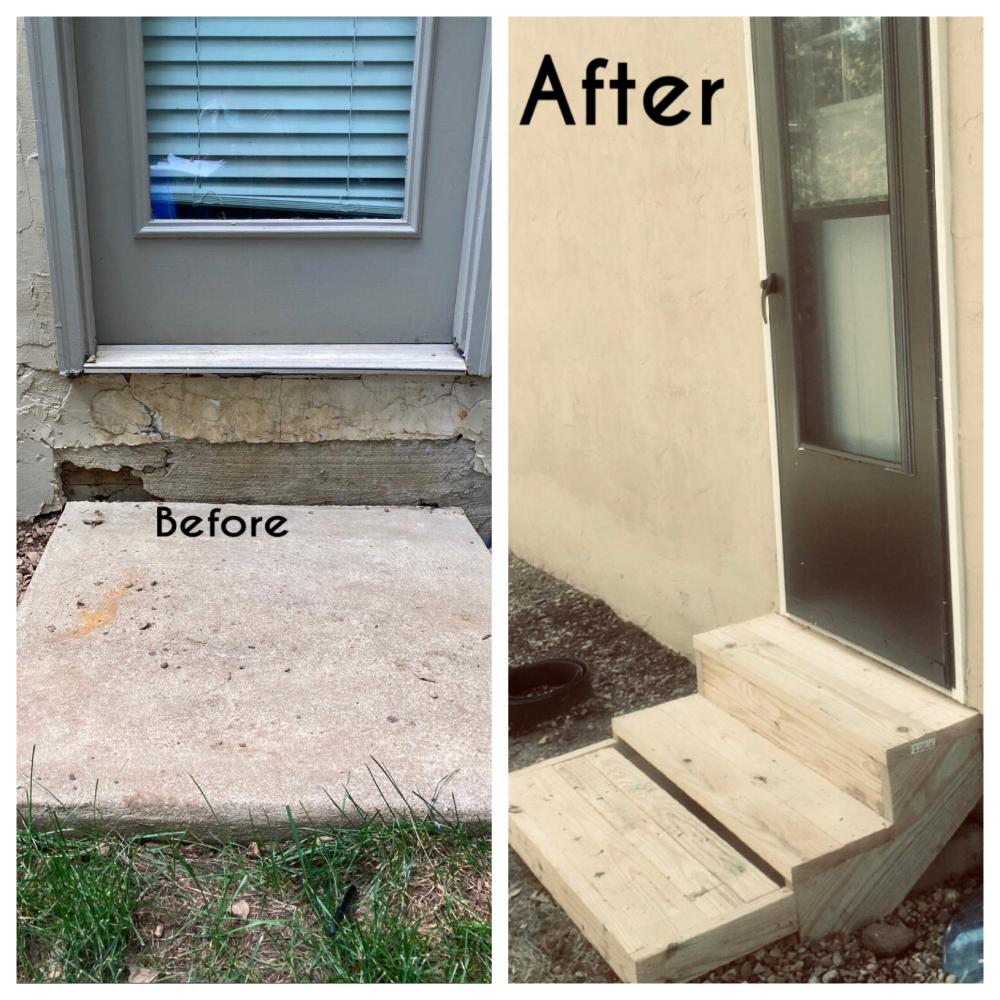 Stucco work, steps built, and a New Screen Door!
