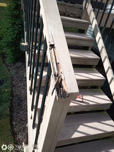 Deck Stair Railing Replacement - Before