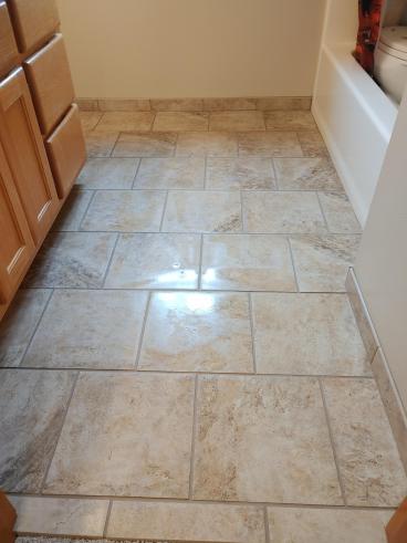 Bathroom tile floor job, Marysville