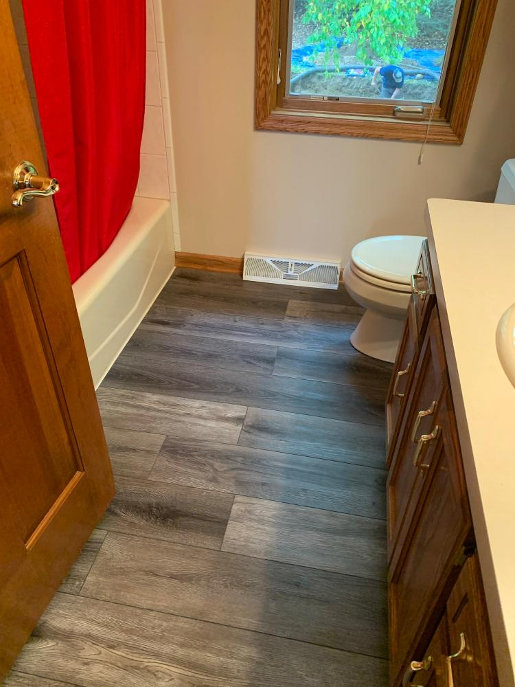 Bathroom flooring project in Waukesha Wisconsin