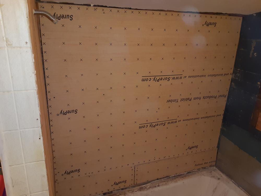 During Backer board install