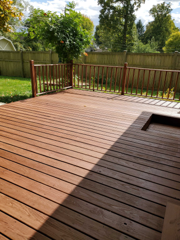 Power Washed and Stained Deck in Columbus
