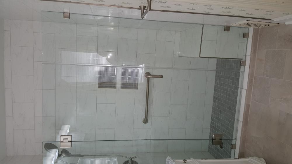 Handicap-Accessible Shower with Grab Bars