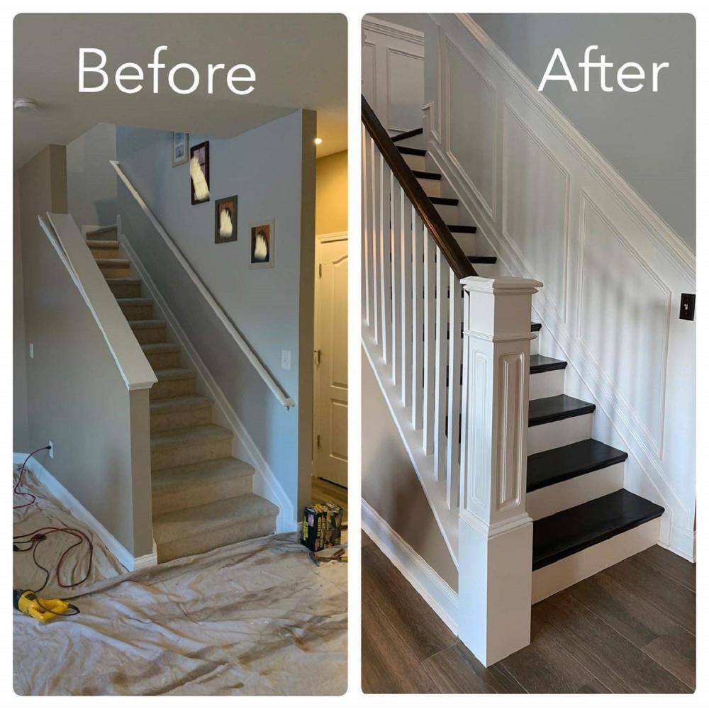 Transformed Stairway - Carpet to hardwood steps and railing and wainscoate