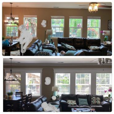 Before and After Trim Refresh in the  Family Room
