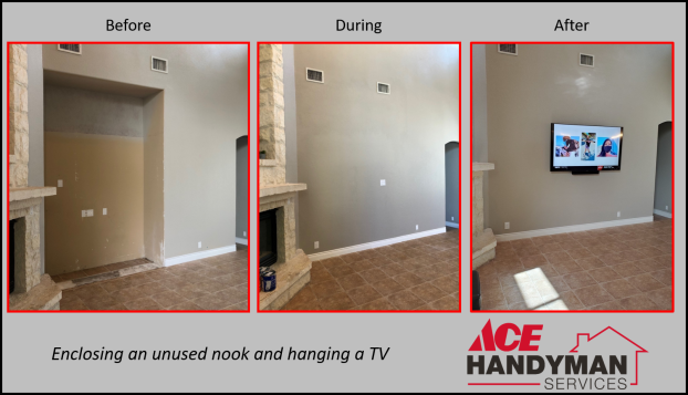 Carpentry Drywall and Painting - Nook Enclosure and Hanging a TV