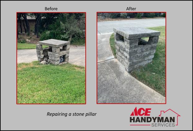 Exterior Masonry - Stone Pillar Repair